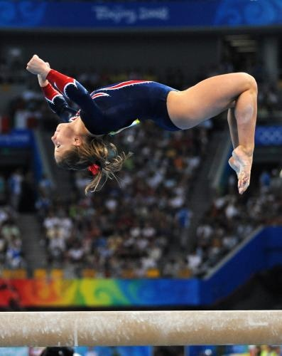 Shawn Johnson (United States) on balance beam at the 2008 Beijing Olympics