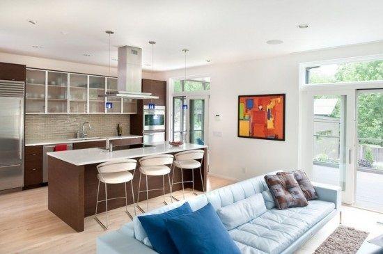 2-amenajare in plan deschis living si bucatarie design modern