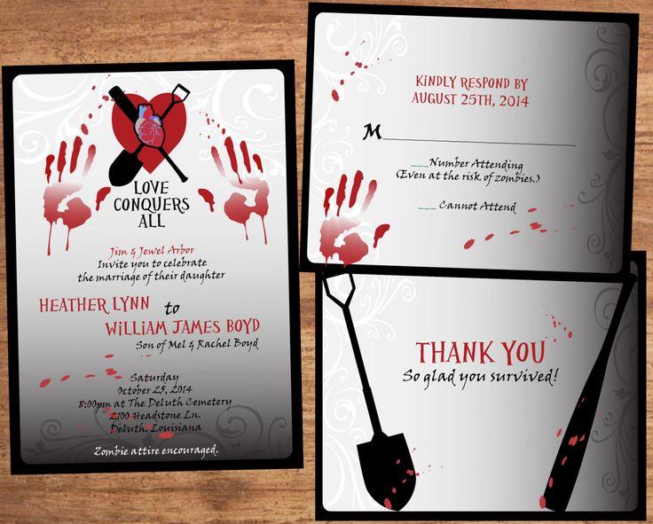 Zombie Wedding Invitation Set - Digital Files by SBVintageAndDesign on Etsy https://www.etsy.com/listing/211142807/zombie-wedding-invitation-set-digital