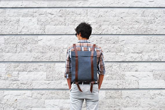 City backpack for men  personalized canvas leather by InconnuLAB
