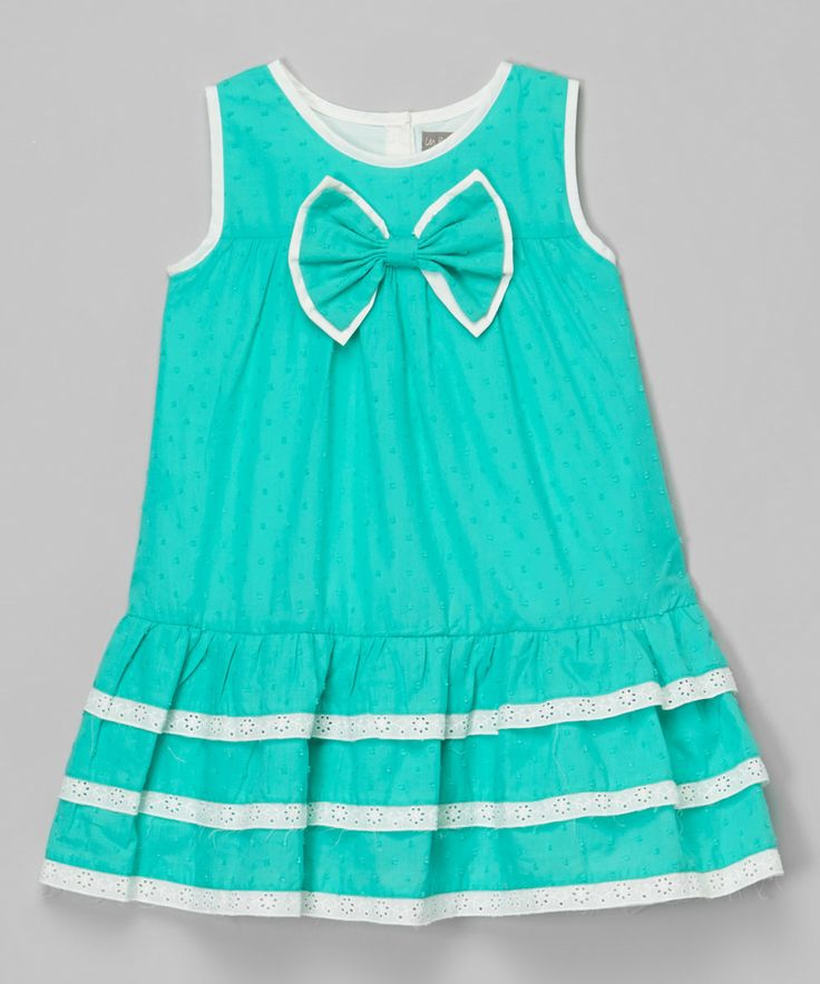 Aqua Bow Ruffle Polka Dot Dress - Infant & Toddler by Les Petits Soleils by Fantaisie Kids #zulily #zulilyfinds
