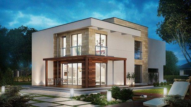 #Projekt TIT-873: #nowoczesny, #niebanalny, piętrowy budynek z płaskim dachem. Projekt przedstawia stylową, komfortową rezydencję z dużym, dwustanowiskowym garażem. Zobacz rzuty projektu!