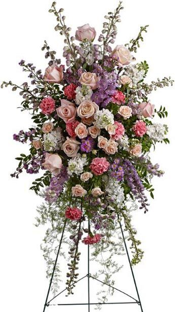 Pink, White and Purple Funeral Floral Arrangement