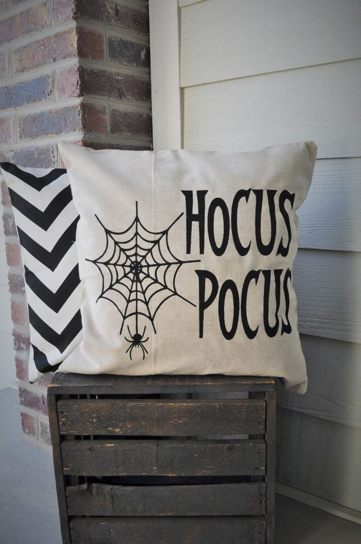This linen HOCUS POCUS pillow cover is sure to add texture, dimension and…