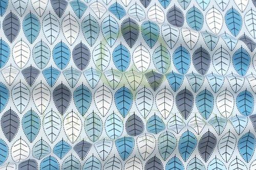 Bawełna listki szaro-niebieskie