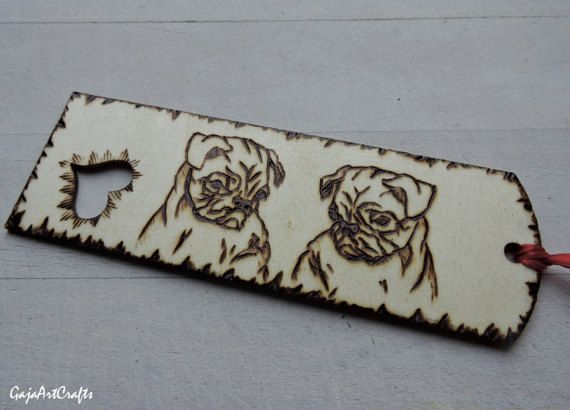 The two pugs wooden bookmarks Reading lovers gift for pug