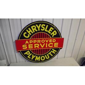 PORCELAIN CHRYSLER PLYMOUTH APPROVED SERVICE SIGN Lot 101 | POSTING FUN SIGNS OF YE OLD 50'S ET ...