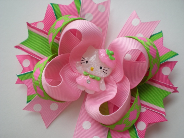 Hello Kitty Hair Bows | Preppy Hello Kitty Hair Bow by RubySweets on Etsy