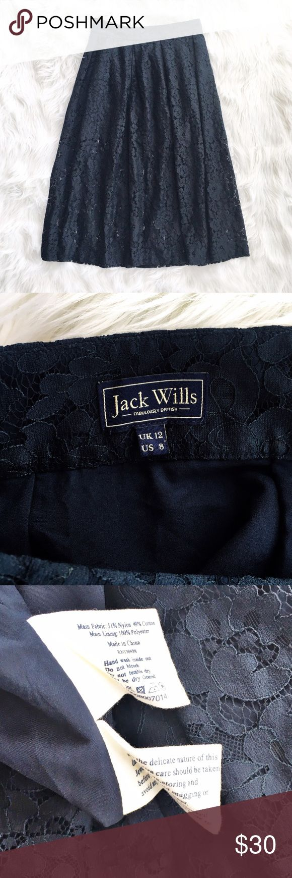 "Jack Wills navy floral lace midi skirt Lovely floral lace midis skirt from Jack Wills, size 8. Lined to the knees the lace is open. Features pockets and concealed side zipper. Flat measurements are waist 15"", hips free, length 31"". Excellent condition. Jack Wills Skirts Midi"