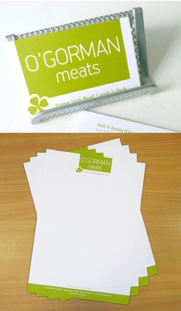 O'Gorman Meats modern identity and bright stationery. www.akgraphics.ie
