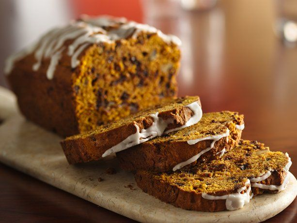 This classic homemade pumpkin bread is studded with chocolate chips and drizzled with a sweet glaze. Perfect for using up those extra cans of pumpkin in the pantry! We like to mix it up by using dried cranberries instead of the chocolate, or brown sugar and chopped walnuts instead of the glaze.