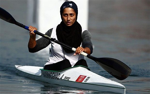 London 2012 Olympics: Iranian Arezou Hakimmoghaddam, Tehran, competed in the women's kayak 200 metres sprint at Eton Dorney on Friday, finishing seventh in her heat at the Olympics. She turned to canoeing after being forbidden from wearing swimsuit; strict Islamic laws prevented her following her ambition to be an Olympic swimmer. She wore a hijab and full body wetsuit at Eton Dorney this week.