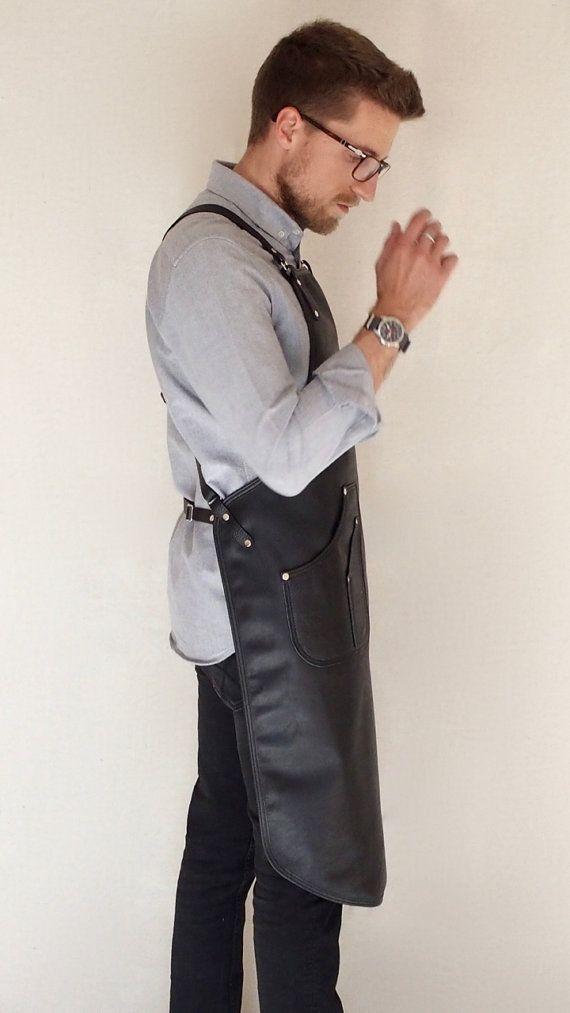 Tablier Chef-barbier-coiffeur-Tailor de cuir noir