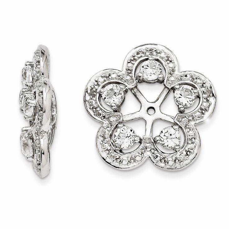 Fine Jewelry Sterling Silver Diamond & White Topaz Earrings aTch2bU
