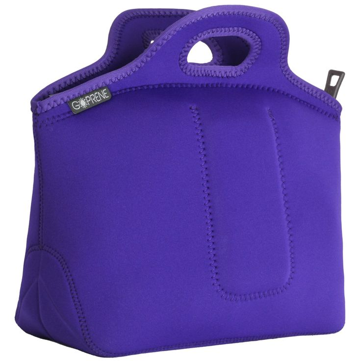 Neoprene Lunch Bag Insulated Lunch Tote With Utensil Pocket | LARGE | Purple | 13 x 14 x 6.5 inches | By GOPRENE