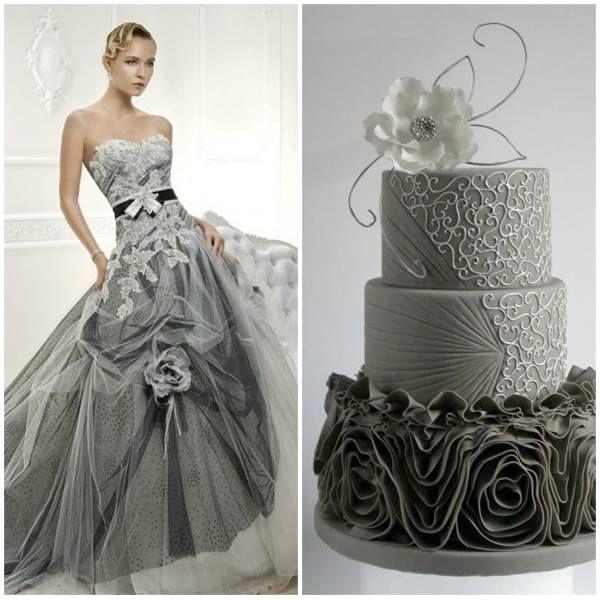 Cosmobella trouwjurk met bruidstaart combinatie van www.honeymoonshop.nl