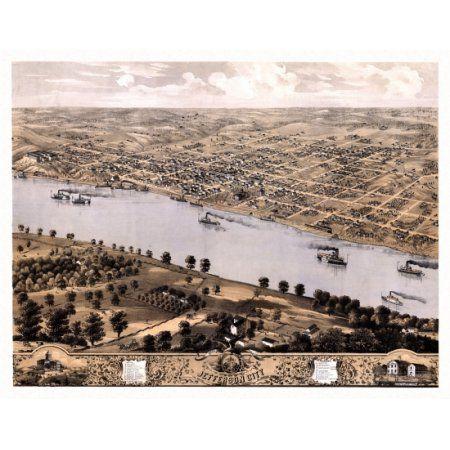 Historic Map of Jefferson City Missouri 1869 Callaway County Canvas Art - (36 x 54)