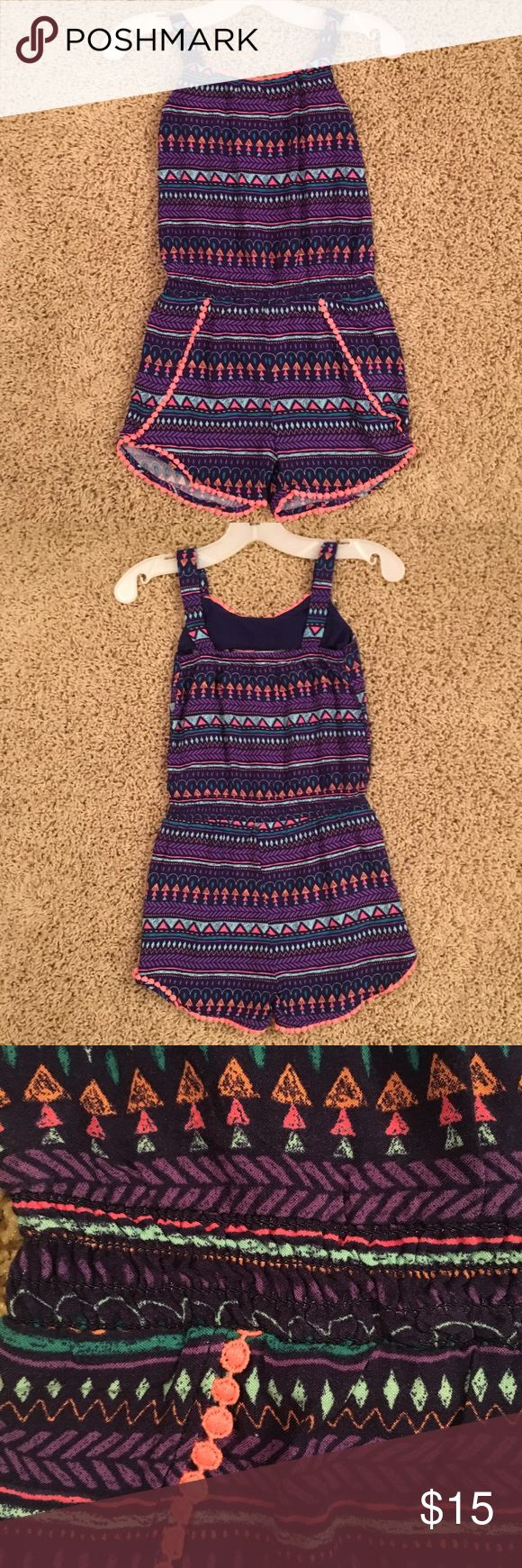 Adorable Kids Cherokee Romper Cute geometric print romper for kids. Cherokee brand (Target) size XS (4/5). Contains black, purple, blue, coral, and orange accents. Perfect for a spring or summer day! Worn once- great condition! Cherokee One Pieces