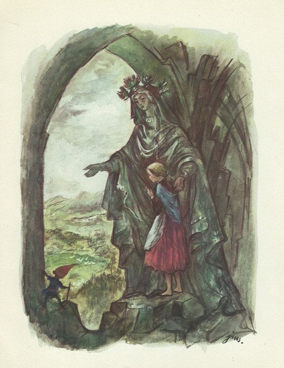 "(1960) book illustration created by J.M. Szancer for the novel ""O krasnoludkach i sierotce Marysi"" (Dwarves and a Little Orphan Girl Mary) written by Maria Konopnicka."