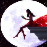 Картинка с девушкой, которая сидит на краю на фоне луны и читает книгу#картинки#фото#девушка#полнолуние#луна#ночь#чтение