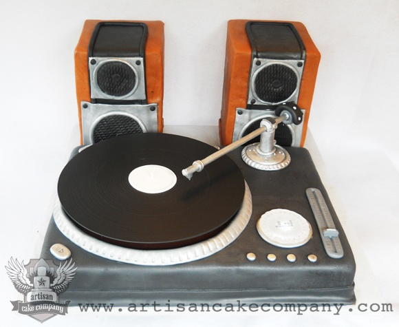 Turntable Birthday Cake, made by Elizabeth Marek. and the record actually spun.