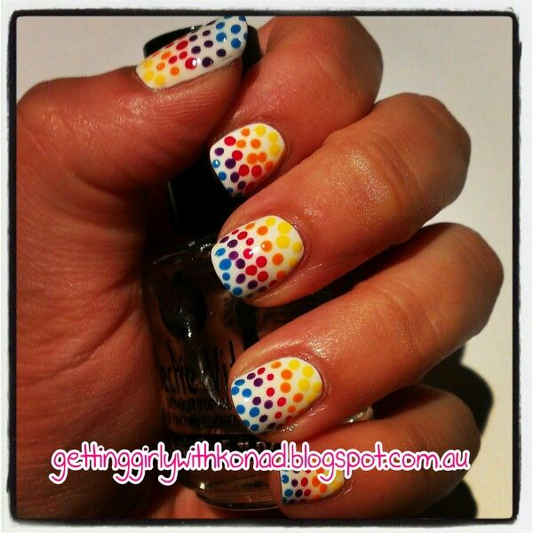 Quirky 31 Day Challenge - Day 8 Dots - China Glaze 'White Out' 'Spontaneous' 'Heli-Yum'