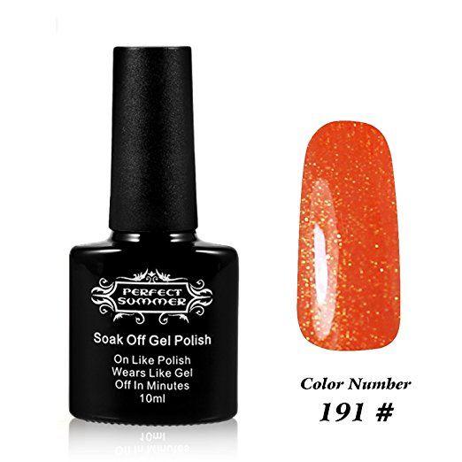 Perfect Summer UV LED Soak Off Gel Nail Polish 10ml, Holographic Color #191 Hologram Orange