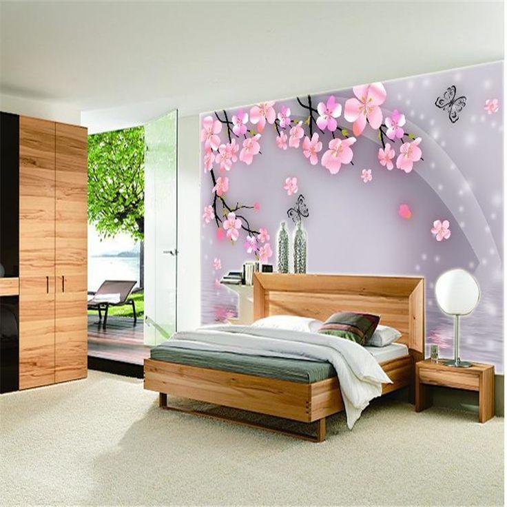 Beibehang 3d Stereoscopic Wallpaper Modern Minimalist Bedroom TV Backdrop  Wallpaper Video Fresh Large Mural Papel De