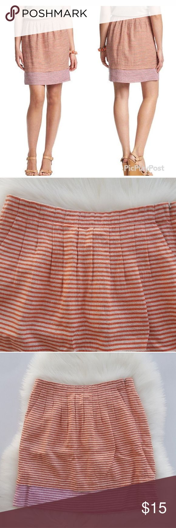 ANN TAYLOR LOFT Linen Orange Pink Striped Skirt ANN TAYLOR LOFT Linen Orange Pink Striped Skirt Has a concealed side zipper.  Pleated skirt. Would look great with a cardigan.  Has pockets. Striped skirt. Ann Taylor Loft skirt. LOFT Skirts Mini