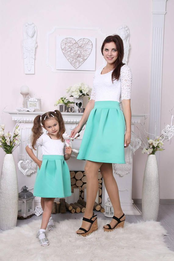 32115db02b Mint summer lace mother daughter matching dresses Mommy and ...