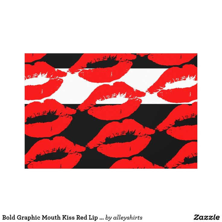 Bold Graphic Mouth Kiss Red Lip Print Black White Canvas. Affiliate link.