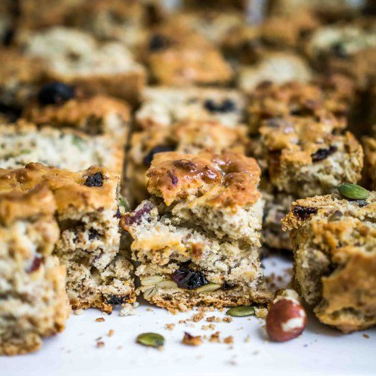 Vegan Buttermilk Rusks - crunchy nutty biscuit squares perfect for dunking!