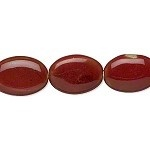 #377 Bead, porcelain, red, 32x22mm-33x24mm puffed oval. Sold per 8-inch strand.