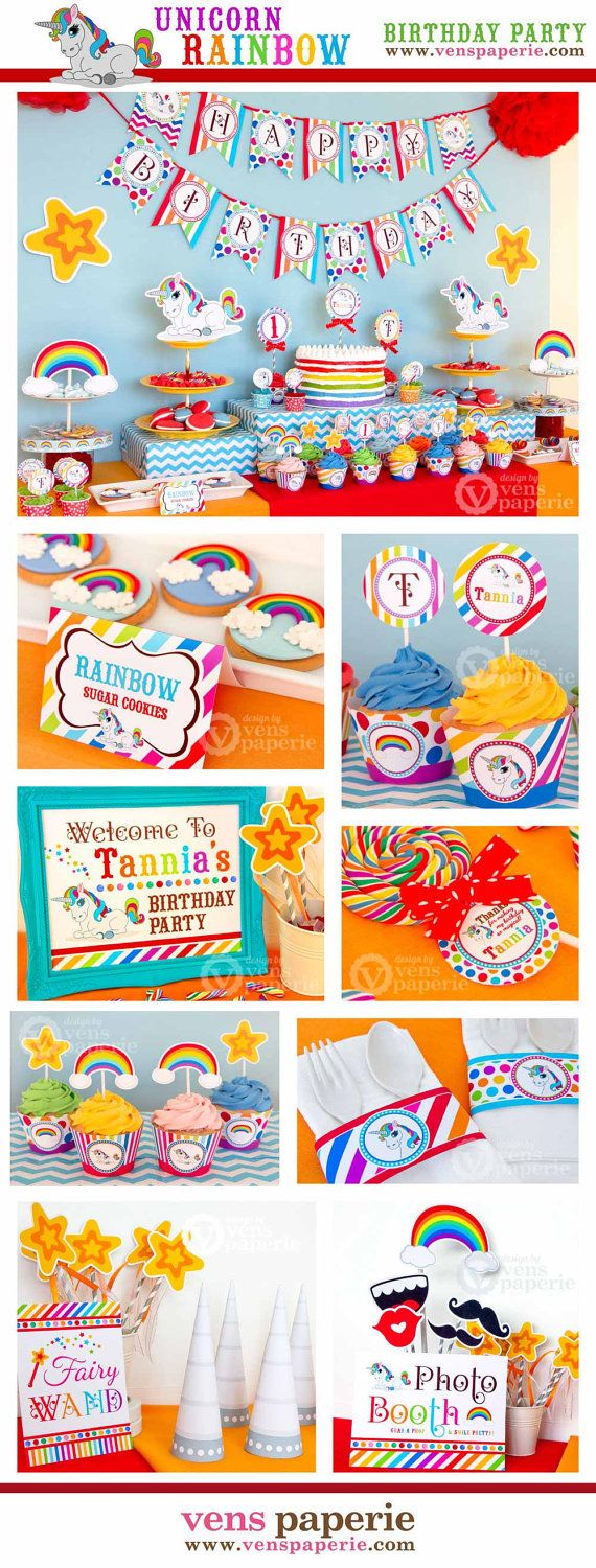 Unicorn Rainbow Party Birthday Package Personalized by venspaperie, $29.00