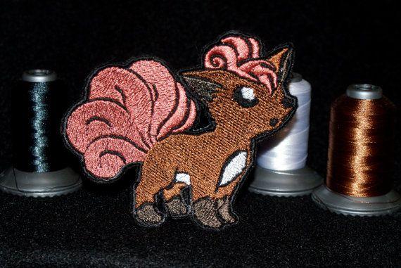 Shiny Metallic Embroidery Vulpix patch. Iron on Pokemon patch.