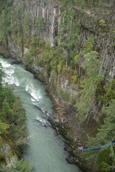 Riley Martin and His Wheelchair Swinging Just Above the River (He's at the end of the blue bungee)