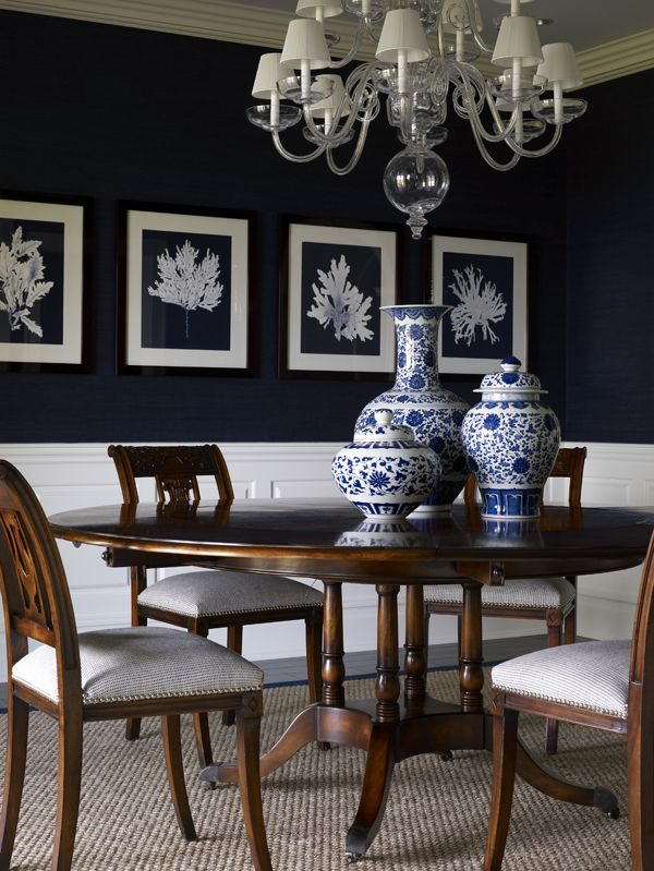 Angela camarda for lillian august photography by stacy for Navy blue dining room ideas