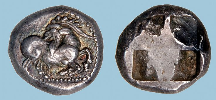 G756 A Rare Greek Silver Drachm of Paros (the Cyclades), a Fine Late Archaic Depiction of a Goat, the Kunstfreund Example | by Ancient Art