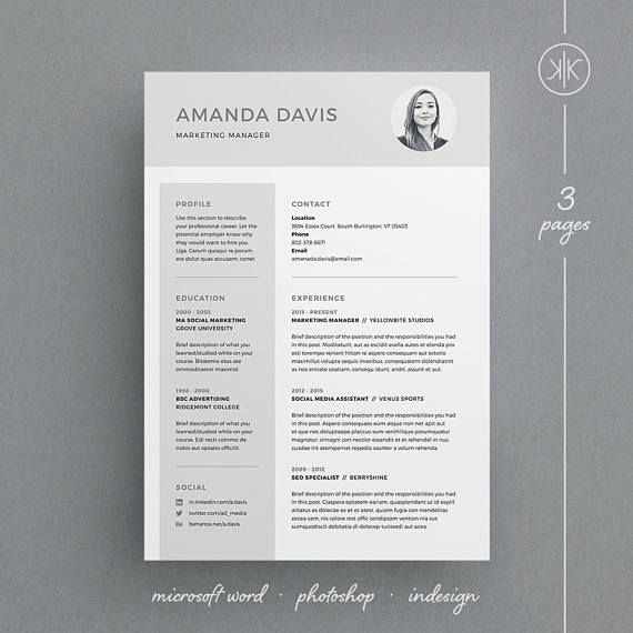 3 Page Resume/CV Template with free matching cover letter - Amanda Resume/CV Template | Word | Photoshop | InDesign | Professional Resume Design | Cover Letter | Instant Download