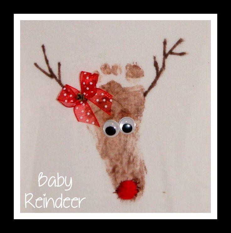 Baby reindeer footprint - would make a cute Christmas card (Footprint Christmas Art)