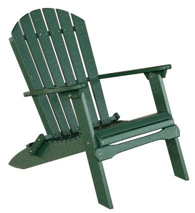 Amish Outdoor furniture.  Amish Poly Recycled Vinyl Adirondack Furniture Chair Folding Heavy Duty Genuine Amish-Made Lawn Furniture!! Folds flat to nine inches for storage. Beware of inexpensive lightweight imitations that are factory made, not Amish made! Using   their old world ways and modern machines powered in a non-electric way,   true Amish craftsman from Holmes County Ohio have created this   wonderful Adirondack folding chair. The   classic Adirondack back and the graceful…