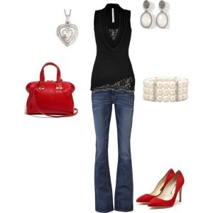 Girls night out: Date Night, Redblack, Red Shoes, Outfit, Red Heels, Woman Clothing, Today Fashion, Peplum Dresses, Red Black