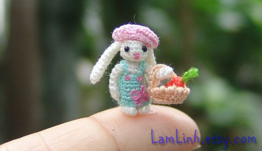 Miniature crochet micro stuffed bunny