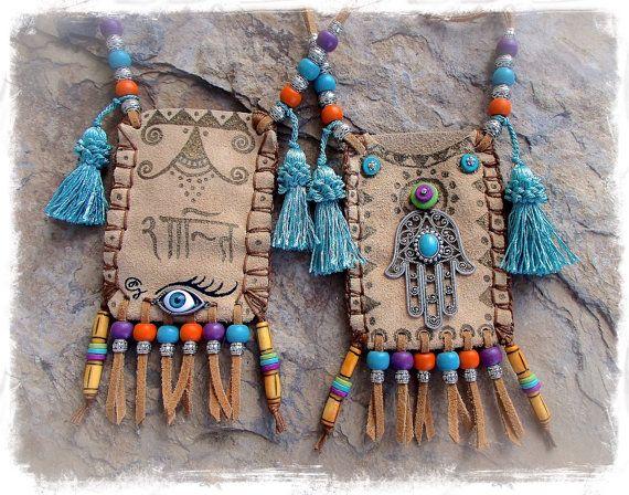 HAMSA Hand LEATHER medicine bag Tribal Ibiza summer by GPyoga