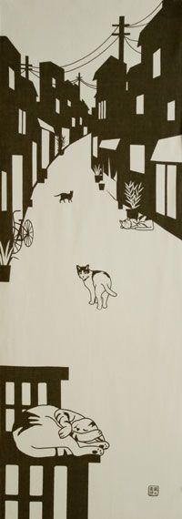 【楽天市場】手ぬぐい「路地ネコ」猫/ネコ/ねこ:手ぬぐい 染の安坊