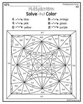 Multiplication Worksheets Kaleidoscope Solve and Color