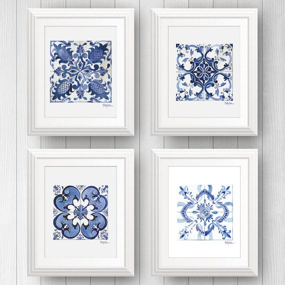 Moroccan tile art - Talavera tile - Mexican Tile - Tile Art Print Set of 4…