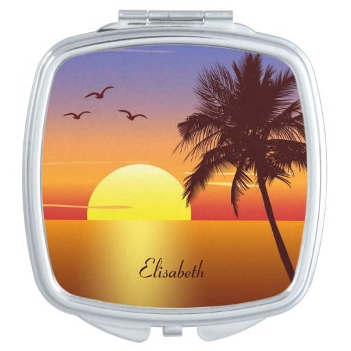 Sunset at tropical beach name makeup mirror