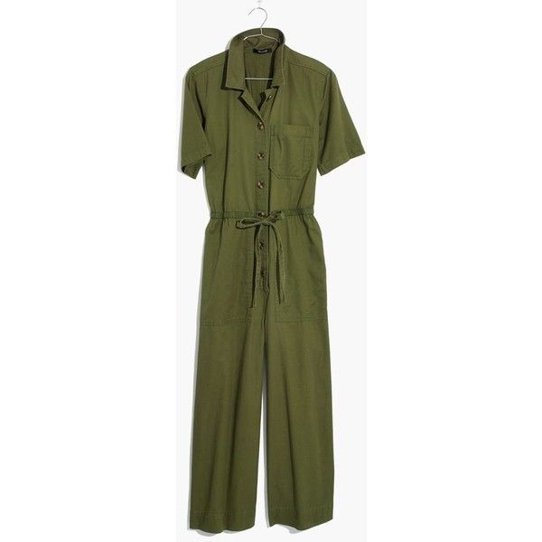 MADEWELL Wide-Leg Utility Jumpsuit ($138) ❤ liked on Polyvore featuring jumpsuits, desert olive, army green jumpsuit, green jumpsuit, wide leg jumpsuits, madewell and cotton jumpsuit