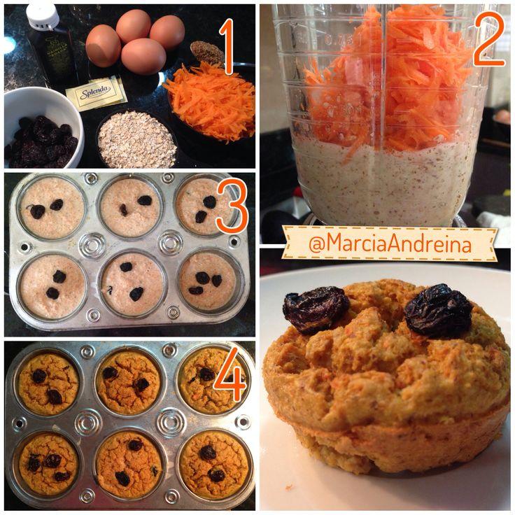 Cupcakes de avena y zanahoria: 1. Ingredientes: 1 huevo, 3 claras, 1/2 taza de avena, 1 taza de zanahoria rallada, 1 cucharada de linaza, 2 sobres de Splenda, un toque de vainilla y un poco de agua.  2. Licúa todos los ingredientes y cuando este homogénea, coloca la zanahoria pero que no se disuelva mucho.  3. Coloca la mezcla en un envase de cupcakes previamente engrasado  4. Hornea por 35 minutos a 300 grados.  Esta receta da para 3 desayunos, conserva en la nevera.  Receta de @Sascha…
